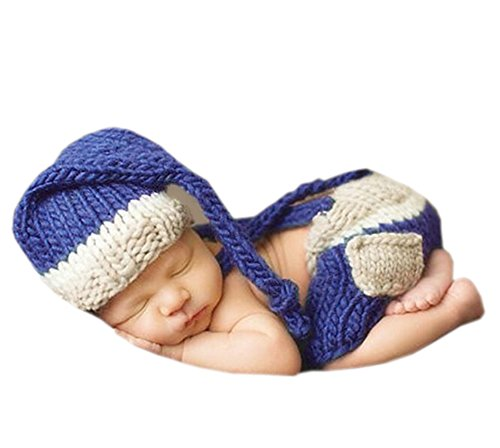 DELEY Nouveau-né Bébé Photographie des Accessoires de Bébé au Crochet Tricot Costume Elfe Tenues Bonnet Pantalon Set 0-6 Mois