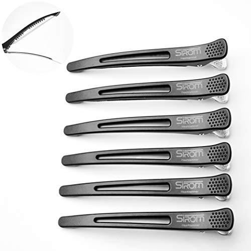 SIROM Abteilklammern Friseur, Haarklammern mit Silikonband für maximalen Halt, Haarclips Friseurbedarf, besonders haarschonend, umweltfreundlich verpackt, 6 Stück (schwarz)