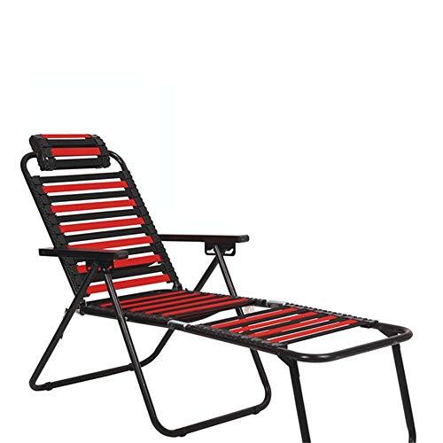 Silla plegable plegable Durable Silla plegable de playa con reposacabezas Almohadas reclinables Patio Lounge Sillas reclinables Tumbona ajustable para la piscina Al aire libre Patio Ergonomía Reposapi