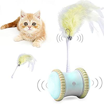 Robotic Interactive Cat Toy for Indoor, 360 Degree Self Rotating, Automatic Irregular Moving LED Light Toys for Kitten/Cats, Upgraded USB Charging, Large Capacity Battery, All Floors/Carpet Available