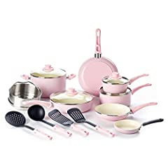 "Free your healthy chef: our cookware is made of Thermolon ceramic non-stick, manufactured free of PFOA, pfas, lead or cadmium. Even if you overheat your pan, toxic fumes will not release Set includes — 4"" Mini frypan, 7"" open frypan, 9. 5"" open frypa..."