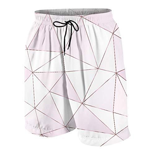 SUHOM Uomo Casuale Pantaloncini da Surf,Piastrelle triangolari poligonali in Oro Rosa,Asciugatura Veloce Costume da Bagno Sportivo Abbigliamento da Spiaggia con Fodera in Rete