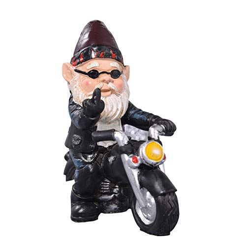 Lievevt Gartenzwerg Statue Frecher Zwerg Motorrad Statue Achse Grease The Biker Weihnachten Dekoration Ornamente für Rasen Terrasse Hof Indoor Outdoor Urlaub Home Office