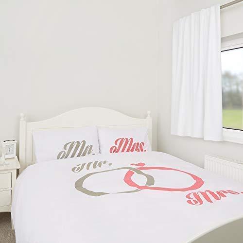 Zappi Co Mr and Mrs Bedding Wedding Engagement Duvet Cover & Pillowcase Set (King Size)