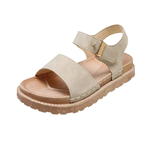 URIBAKY - Sandalias planas a la moda para mujer, elegantes, cómodas, planas, zapatos de playa, Beige (beige), 38 EU