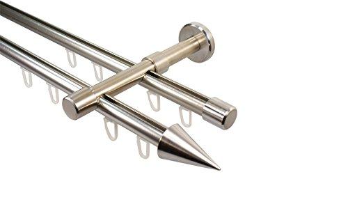 iso-design Edelstahl Optik Innenlauf Gardinenstange 2-läufig 16 mm mit Endstück Spitze, 160 cm