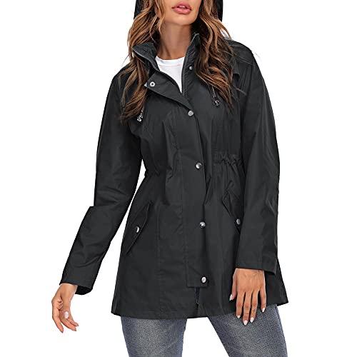 Voiakiu Chubasquero para mujer, talla grande, resistente al agua, con capucha, para exteriores, cortavientos, ligero, S-XXL