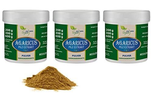 VITAIDEAL VEGAN® Agaricus Pilz Extrakt Pulver (Agaricus Blazei Murill, Mandelpilz) 3x300g inklusive Messlöffel rein natürlich ohne Zusatzstoffe.