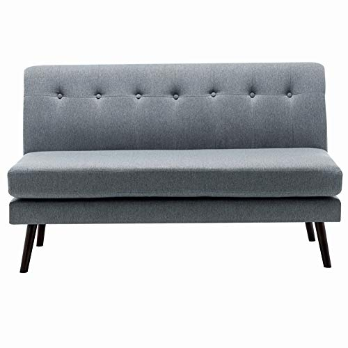 INMOZATA Grey 2 Seater Sofa Modern Upholstered Linen Fabric Corner Sofa Couch Settee Lounge with Removable Spring Cushion Pad (Grey)