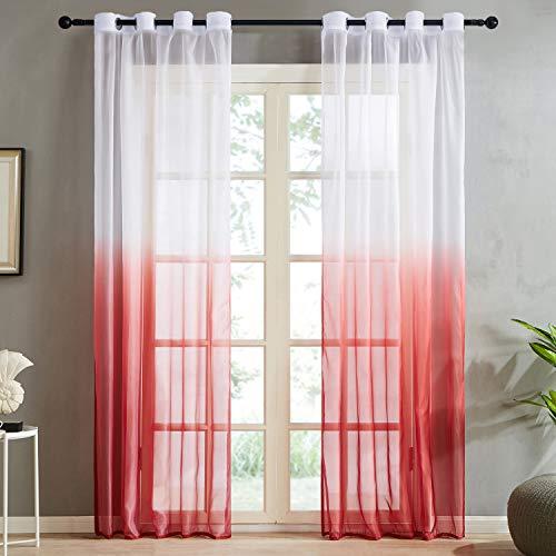 Topfinel Farbverlauf Vorhänge mit Ösen Transparente Gardinen Tüll und Voil Dekoschal für Fenster Schlafzimmer und Wohnzimmer 2er Set je 235x140cm (HxB) Rot