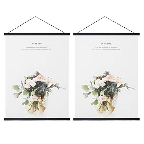 Miaowater 2 Pack Magnetic Poster Frame Hanger,14x22 14x20 14x24 Light Wood Wooden Magnet Frames Hangers for Photo Picture Art Canvas Print Artwork Wall Hanging Black 14''