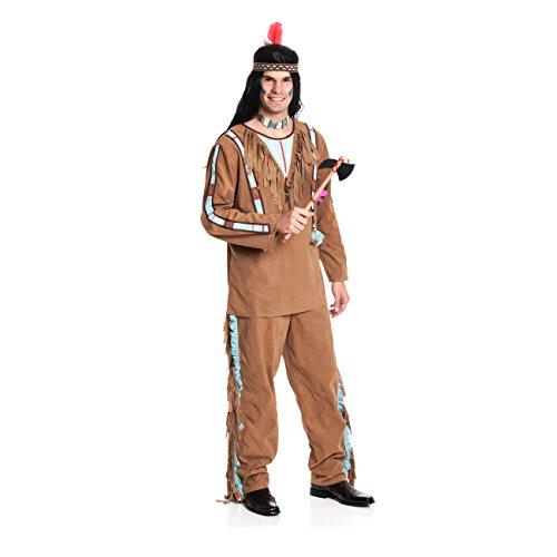 Kostümplanet® Indianerkostüm Herren Indianer-Kostüm Herrenkostüm Faschingskostüm Größe M 48/50