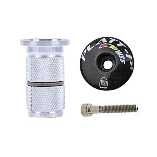 PLATT Carbon Aheadkappe Vorbau Steuersatz Kappe mit Aluminiumlegierung Kompressor Expander 1 1/8 Zoll (Glossy +)