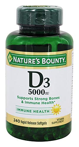 Vitamin D3 by Nature#039s Bounty Supports Immune Health amp Bone Health 5000IU per Serve 240 Softgels
