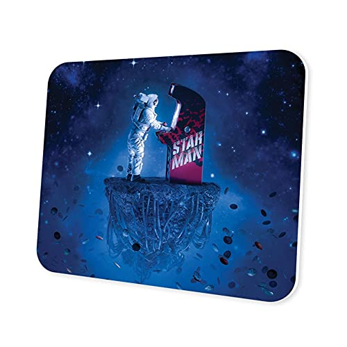 Space Gamer Mouse Pad - Galaxy Astronaut Computer Gaming Laptop Mousepad for Kids Boys Eco-Friendly Non-Slip Waterproof