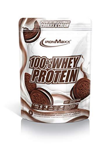 IronMaxx 100% Whey Protein Beutel - Cookies & Cream Special Edition - Hochwertiges Eiweißpulver für cremige Proteinshakes auf Wasserbasis - 36 leckere Geschmäcker - Designed in Germany, 500 g