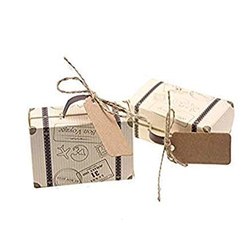 Kaptin 50 Pack Mini Suitcase Candy Favor Box,Vintage Kraft with Tags and Burlap Twine,Imitation Bark Gift Bag for Wedding Birthday Bridal Party Shower Travel Themed Decoration