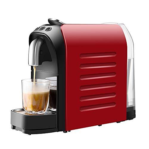 WHITE TIGER Mini Kaffeekapselmaschine,1140 Watt,19 bar Pumpendruck, Platzsparend (Rot)