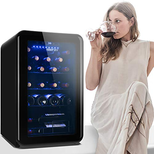 24 Bottle Retro Wine Cooler - Quiet Counter Top Wine Chiller, Freestanding Wine Refrigerator with Digital Display (24 Bottles-Black)