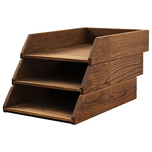 Royal-Office Schreibtisch Ablagefächer Stapelbar Holz 3er Set | Ablage Schreibtisch Organizer Holz Eiche | Dokumentenablage Papierablage Briefablage A4 | Bürobedarf Schreibtisch Zubehör | 35x24,5 cm
