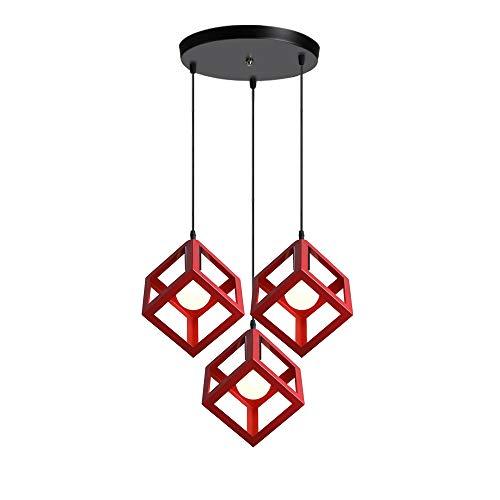 iDEGU - Lámpara de techo con 3 luces, estilo geométrico, estilo vintage, lámpara de techo, en forma de cubo, metal, para dormitorio, salón, comedor, cocina, 16 cm, color rojo