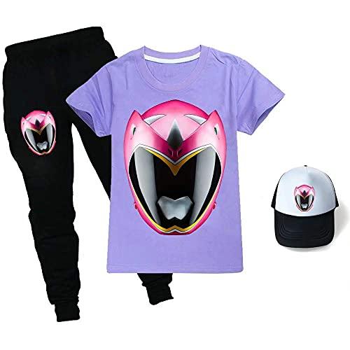 Power Ranger - Juego de camiseta unisex para niños con diseño de Power Ranger + pantalones + sombreros para niños y niñas