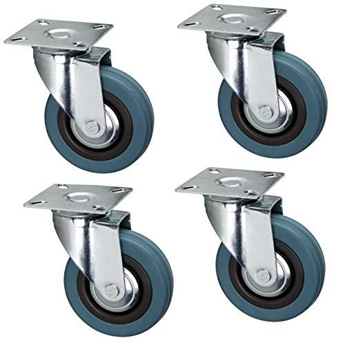 SET 4 Stück Transportrollen Laufrollen Möbelrollen 50 mm 75 mm 100 mm (75 mm, 4x ohne Bremse)