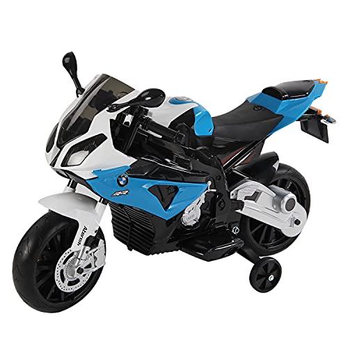 homcom Moto Elettrica BMW per Bambini velocità 2.5-5Km/h con Rotelle e Luci 110×47×69cm Nero-Blu