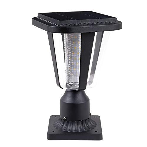 LOVUS Solar Post Light Fixtures, 3000K LED Solar Post Cap Lights with 3-Inch Pier Mount Base (Warm Light)
