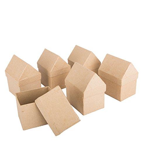 BODA Pappschachtel Haus, 6 Stück, Schachteln aus Pappmaché in Hausform Geschenkbox