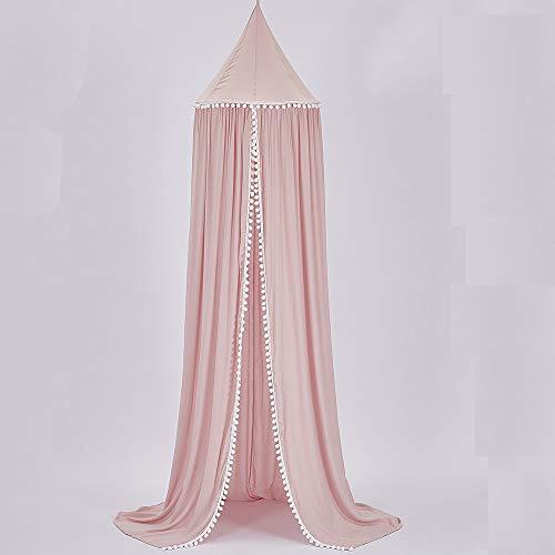 Baldachim do łóżka dla dzieci, bawełniana kopuła moskitiera dla niemowląt, dzieci do wewnątrz do zabawy na zewnątrz wysokość do czytania 240 cm / 94,5 cala (różowy)