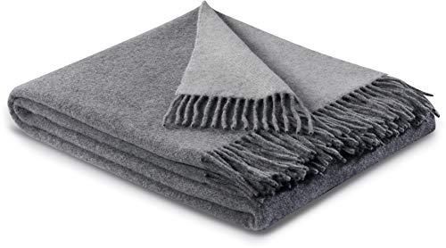 biederlack® samt weiche Kuschel-Decke Wool-Mix in grau-Silber I aus Wolle und Kaschmir I Öko-Tex Zertifiziert I Plaid in 130x170 cm | perfekt als Tagesdecke & Sofa-Decke | Wohn-Decke in top Qualität