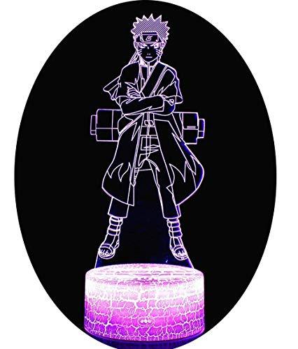 3D Lámpara óptico Illusions Luz Nocturna, CKW 7 Colores Cambio de Botón Táctil y Cable USB para Cumpleaños, Navidad Regalos de Mujer Bebes Hombre Niños Amigas (Naruto 1)
