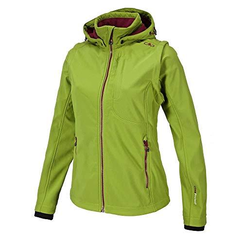 CMP – F.LLI Campagnolo Damen Softshelljacke mit abnehmbaren Ärmeln Jacket, Olive-Ketchup, D36