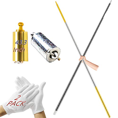 Broadsheet 2Pack Magic Pocket Staff, 43.3Inch Metal Appearing Cane Portable Retractable Magic Stick Professional Magicians Wand for Birthday Party Games, Halloween Christmas Magic Show