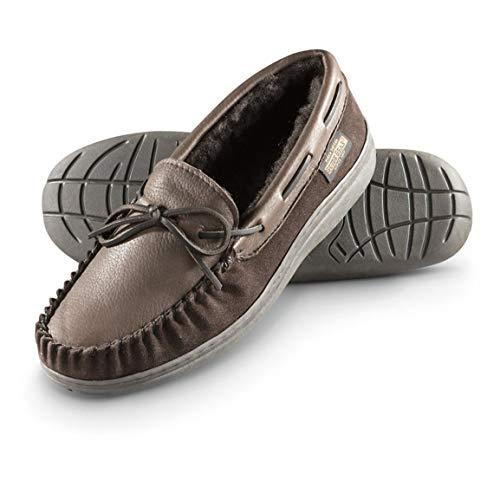 Guide Gear Men's Deerskin Moccasin Slippers, Brown, 10D (Medium)