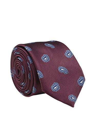 Tossido Woven Maroon Paisley Micro Fiber Skinny Necktie