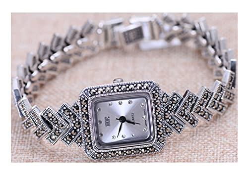 VIVIANSHOP Relojes de Plata esterlina de Las Mujeres, Accesorios de Moda 925 Relojes Cuadrados de Plata esterlina Pulseras Accesorios de Pulsera Joyería de Plata.
