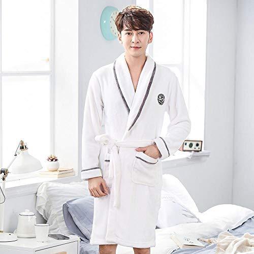 BKHBJ YUP - Vestido de noche blanco cálido para los amantes de la ropa de dormir de forro polar de coral para mujer y hombre, pijama tipo kimono, ropa de noche para el hogar, bata de baño de franela, sexy., Hombres Blanco1, Medium