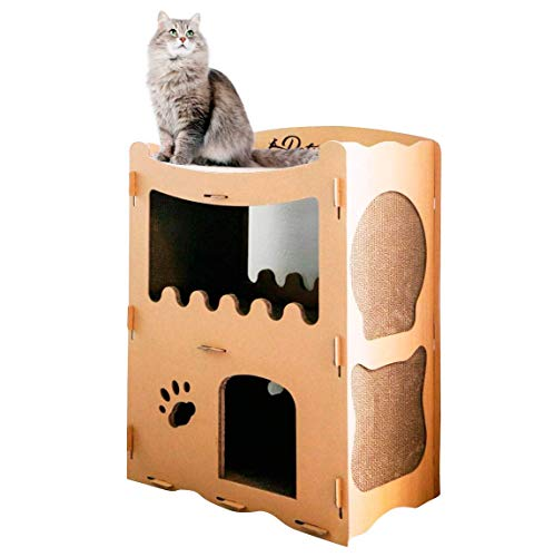 PETIQUE Feline Penthouse Cat House, Kraft, One Size