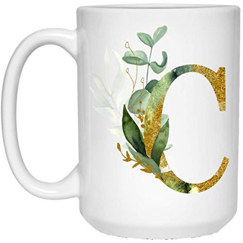 Lawenp Alpha / C Grafik Buchstabe C Kaffeetasse - Alphabet Buchstabe Monogramm C - Gold schimmert jeder Buchstabe Blumenalphabet Tee Kaffee heiße Schokolade Tasse für ihren Geburtstag Weihnachten Mu