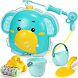 Geyiie Beach Toys for Kids,Water Gun Backpack Outdoor Water Toys for Kids 3-10 Beach Pail Set with Sand Shovel,Beach Wagon,Watering Can,Summer Pool Party Favor Gifts for Toddlers Boys Girls (6PCS)