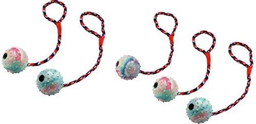 Cajou Ball am Seil Wurfball Schleuderball für Hunde Hundeball mit Wurfschlaufe (5 Stück)