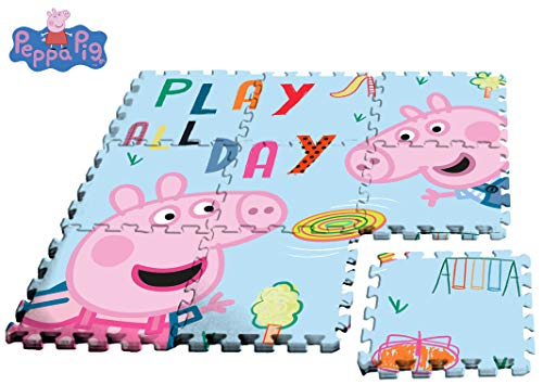 Kids Peppa Pig alfombra-Puzzle EVA Sol, PP17004, Multicolore, 90 x 90 cm - Version Espagnole