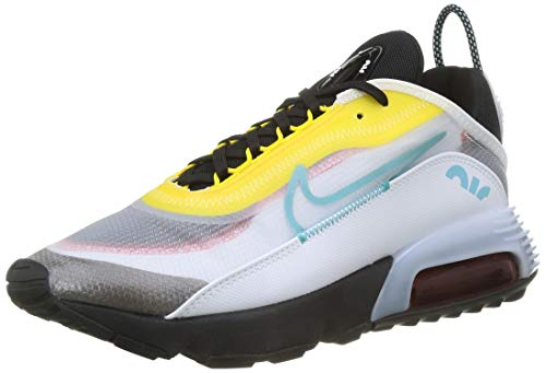 Nike Air MAX 2090, Zapatillas para Correr Hombre, White Bleached Aqua Black Speed Yellow Chile Red, 43 EU
