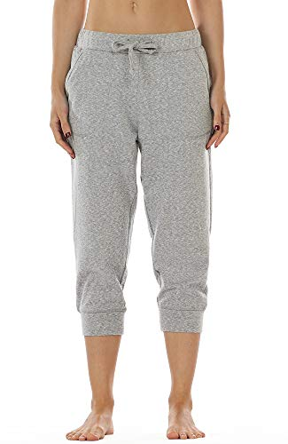 icyzone Damen Hosen 3/4 Sweathose Jogginghose Baggy Casual Pants Sporthose (S, Black)