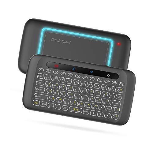 Docooler Drahtlose Tastatur Bunte Hintergrundbeleuchtung Touchpad Handheld-Fernbedienung mit großen Touch Panel IR Lernen für Smart TV Android TV Box PC Laptop(QWERTY-Layout )