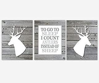 Boy Nursery Wall Art Gray Prints Deer Head Antler Rustic Outdoors Hunting To Go To Sleep Quote Decor 3 UNFRAMED PRINTS