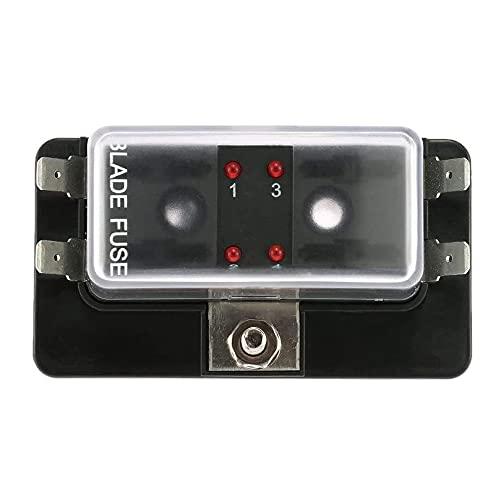 YeenGreen Caja Fusibles 4 Vias, Porta Fusible, Cuadro Fusibles con Indicador LED y Cubierta Protectora para Coches, Motos, Camiones, Barcos