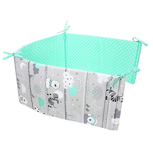 TupTam Protector para Cama de Bebé, Oso Menta Verde, 180x30 cm (Cuna 120x60 cm)